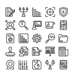 business and office line icons 20 vector image