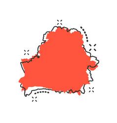 Cartoon belarus map icon in comic style belarus vector