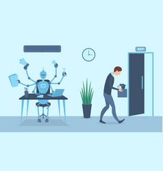 cartoon color characters human vs robot concept vector image