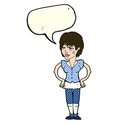 Cartoon tough woman with hands on hips with speech vector