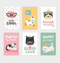 cats cards cute kittens cool and smart funny vector image