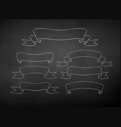 chalk drawn set of scroll ribbon banners vector image