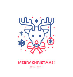 Christmas deer new year decoration flat line icon vector