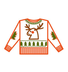 christmas holiday knitted sweater with animalistic vector image