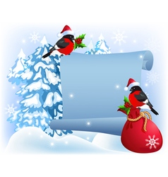 Christmas parchment with bullfinches in Santa Clau vector image