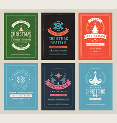 christmas party posters design set retro vector image