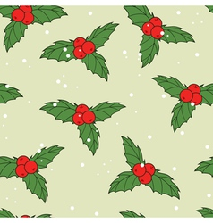 Christmas seamless pattern with ilex berries vector