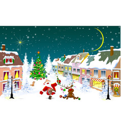City in the winter santa claus and a deer on vector