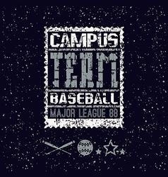 College print baseball team vector