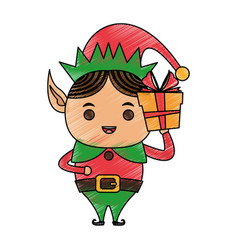 Color pencil cartoon full body christmas elf with vector