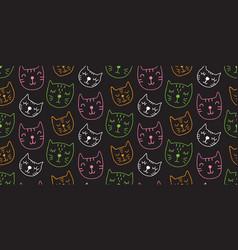 Cute cats seamless pattern vector