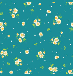 Cute daisies ditsy seamless pattern vector