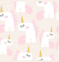 cute seamless pattern with fairy unicorns vector image