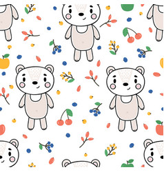 cute seamless pattern with little bear and vector image