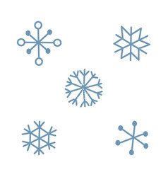 cute simple blue snowflake set isolated on light vector image