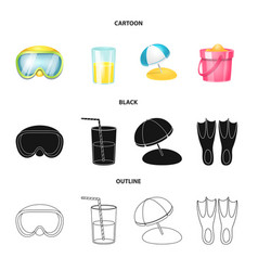 Design of equipment and swimming icon set vector
