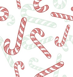 doodle candy canes seamless pattern vector image