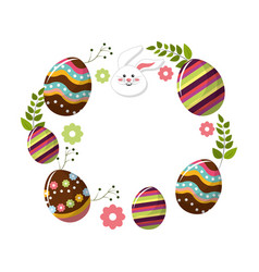 Eggs easter with branches plant and face rabbit vector