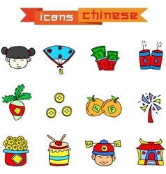 Element Chinese of icons vector