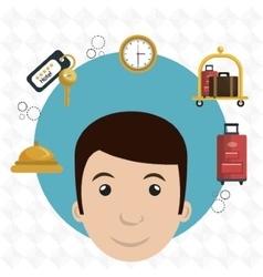 Employee hotel building icon vector