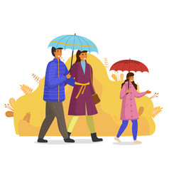 family with umbrellas walking at abstract vector image