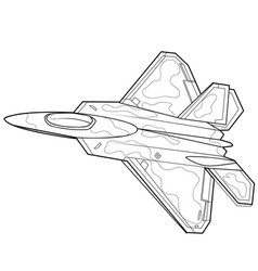 Fighter sketch coloring book on white background vector