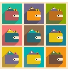 Flat with shadow icon concept wallet money and vector