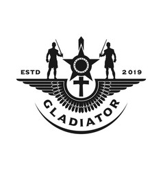gladiator wing logo design vector image