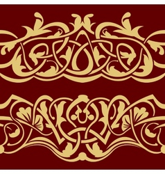 Gold floral seamless border vector image