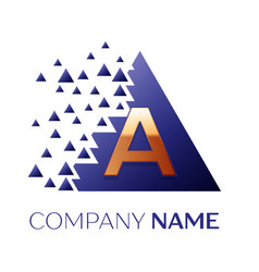 golden letter a logo symbol in blue pixel triangle vector image