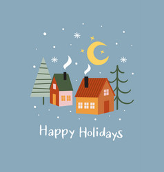 greeting card with houses and christmas trees vector image