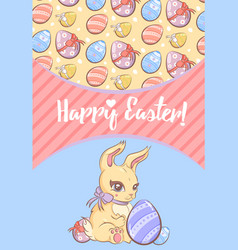 Greeting happy easter template vector