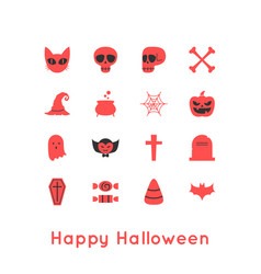 Happy halloween greeting card and icon vector