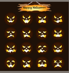 Happy halloween - jack olantern expressions vector