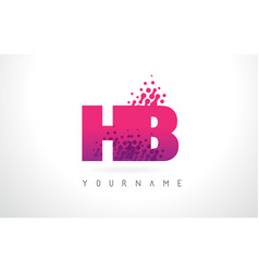 Hb h b letter logo with pink purple color vector