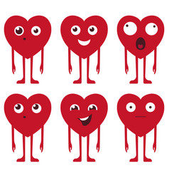 heart face set in red color with funny vector image