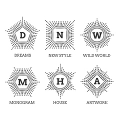Hipster vintage labels logo or badges vector image