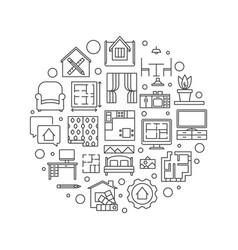 Home interior design round outline vector