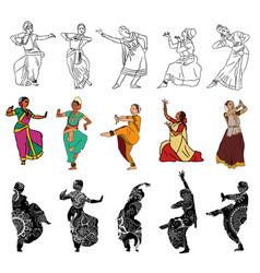 indian dancers silhouettes vector image