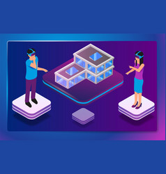 isometric augmented virtual reality for architects vector image