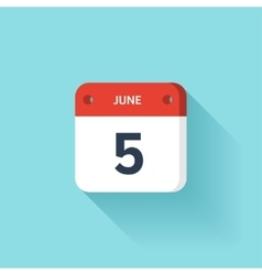June 5 Isometric Calendar Icon With Shadow vector