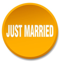 Just married orange round flat isolated push vector