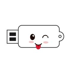 kawaii usb drive icon vector image