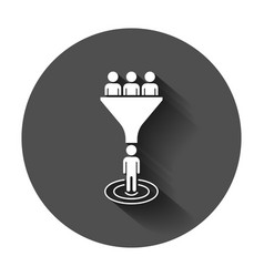 Lead management icon in flat style funnel with vector