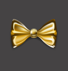 luxury golden bow tie isolated on dark background vector image