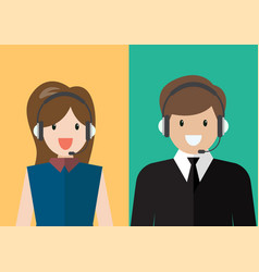 man and woman working in call center vector image