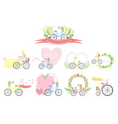 Message template set with bicycles and hearts vector