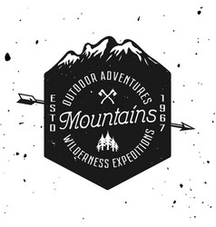 mountains vintage badge emblem label vector image