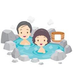 Old Man And Woman Relaxing In Hot Spring vector