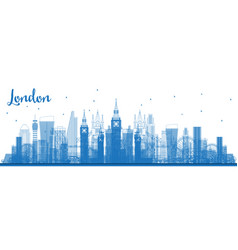 Outline london city skyline with blue buildings vector